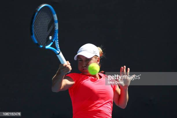 Yulia Putintseva of Kazakhstan plays a forehand in her first round match against Barbora Strycova of Czech Republic during day one of the 2019...
