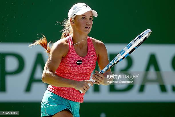 Yulia Putintseva of Kazakhstan plays Shuai Peng of China during the BNP Paribas Open at the Indian Wells Tennis Garden on March 9 2016 in Indian...