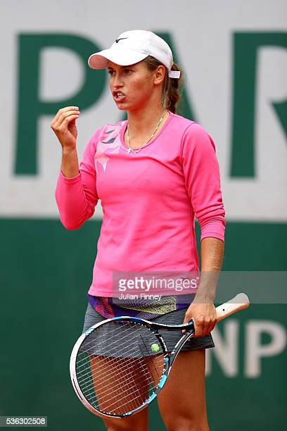 Yulia Putintseva of Kazakhstan reacts during the Ladies Singles fourth round match against Carla Suarez Navarro of Spain on day eleven of the 2016...