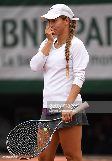 Yulia Putintseva of Kazakhstan reacts during the Ladies Singles quarter final match against Serena Williams of the United States on day twelve of the...