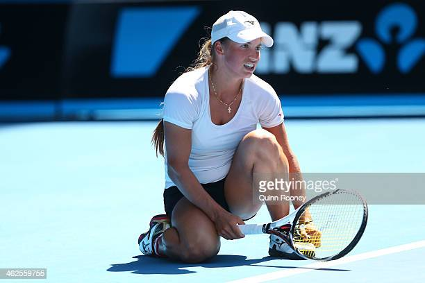 Yulia Putintseva of Kazakhstan reacts in her first round match against Agnieszka Radwanska of Poland during day two of the 2014 Australian Open at...