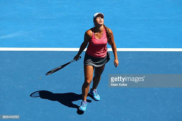 Yulia Putintseva of Kazakhstan reacts in her first round match against Caroline Wozniacki of Denmark during day one of the 2016 Australian Open at...