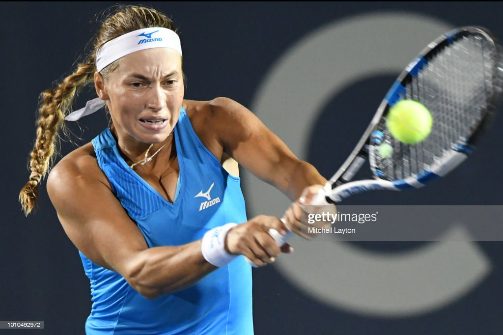 Yulia Putintseva of Kazakhstan returns a backhand shot to Svetlana Kuznetsova of Russia during Day Seven of the Citi Open at the Rock Creek Tennis Center on August 3, 2018 in Washington, DC.