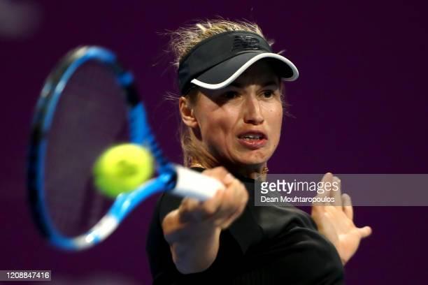 Yulia Putintseva of Kazakhstan returns a forehand against Belinda Bencic of Switzerland during Day 4 of the WTA Qatar Total Open 2020 at Khalifa...