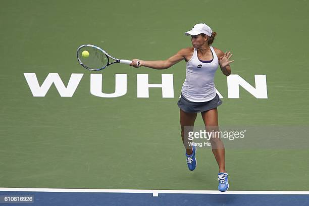 Yulia Putintseva of Kazakhstan returns a shot during the match against Venus Willams of USA on Day 3 of 2016 Dongfeng Motor Wuhan Open at Optics...