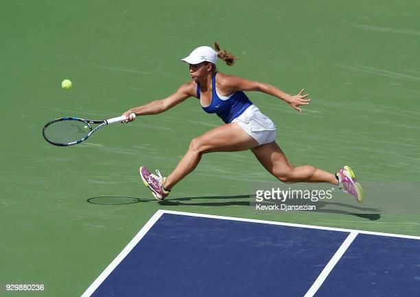 Yulia Putintseva of Kazakhstan returns against Petra Kvitova of Czech Republic during Day 5 of the BNP Paribas Open on March 9 2018 in Indian Wells...
