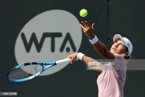 Yulia Putintseva of Kazakhstan serves during her match against Jil Teichmann of Switzerland during Top Seed Open - Day 4 at the Top Seed Tennis Club...