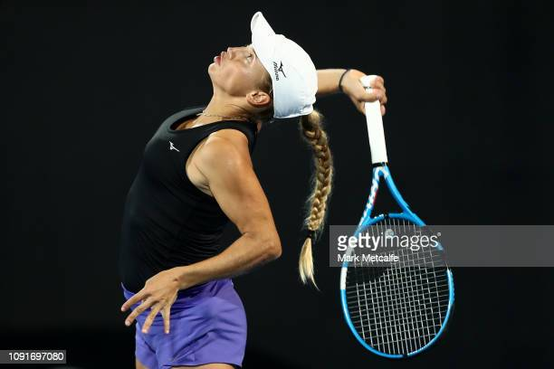 Yulia Putintseva of Kazakhstan serves in her match against Sloane Stephens of the United States during day four of the 2019 Sydney International at...