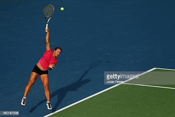 Yulia Putintseva of Kazakhstan serves to Agnieszka Radwanska of Poland during day three of the WTA Dubai Duty Free Tennis Championship on February 20...