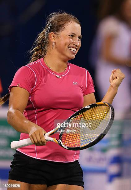 Yulia Putintseva of Kazakhstan smiles after defeating Laura Robson of Great Britain during day one of the WTA Dubai Duty Free Tennis Championship on...