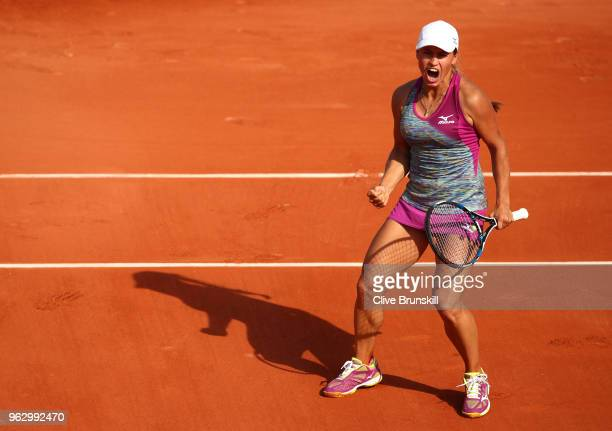 Yulia Putintseva of Kazhakstan celebrates breaking Johanna Konta of Great Britain in their ladies singles first round match during day one of the...