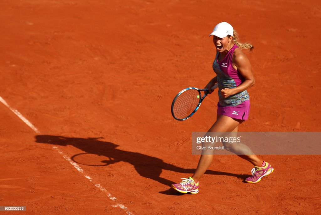 Yulia Putintseva of Kazhakstan celebrates during her ladies singles first round match against Johanna Konta of Great Britain during day one of the 2018 French Open at Roland Garros on May 27, 2018 in Paris, France.
