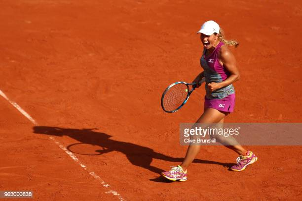 Yulia Putintseva of Kazhakstan celebrates during her ladies singles first round match against Johanna Konta of Great Britain during day one of the...