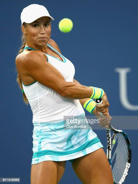 Yulia Putintseva of Russia returns a shot against Agnieszka Radwanska of Poland in their second round Women's Singles match on Day Four of the 2017...
