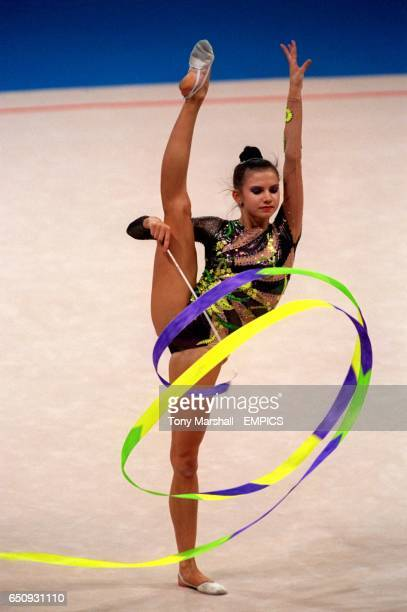 Yulia Raskina of Belarus displays her artistry on the way to a silver medal