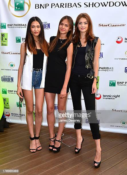 Yulia Saparniyazova Marta Stempniak and Vika Levina attend an announcement at Local West on August 19 2013 in New York City for Andy Murry's...