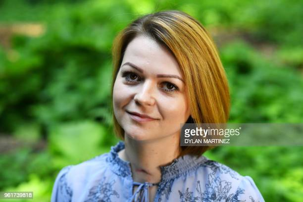 Yulia Skripal who was poisoned in Salisbury along with her father Russian spy Sergei Skripal speaks to media representatives in London on May 23 2018...