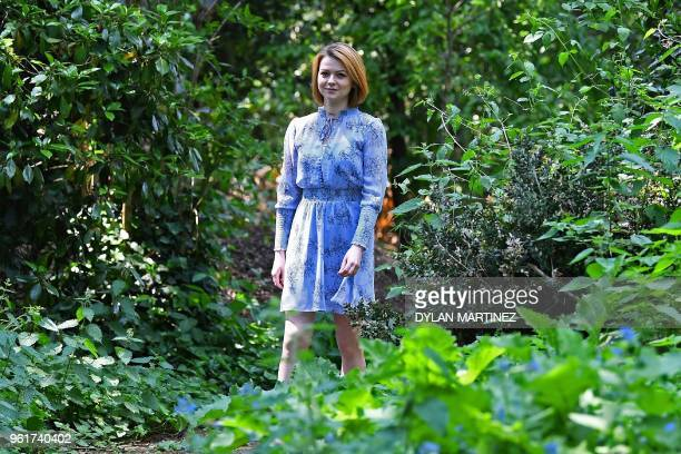 TOPSHOT Yulia Skripal who was poisoned in Salisbury along with her father Russian spy Sergei Skripal speaks to media representatives in London on May...