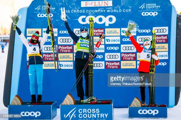 Yulia Stupak of Russia takes second place, Linn Svahn of Sweden takes first place, Therese Johaug of Norway takes third place during the Women's 10km...