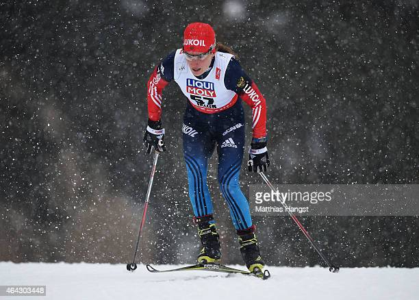 Yulia Tchekaleva of Russia competes during the Women's 10km CrossCountry during the FIS Nordic World Ski Championships at the Lugnet venue on...