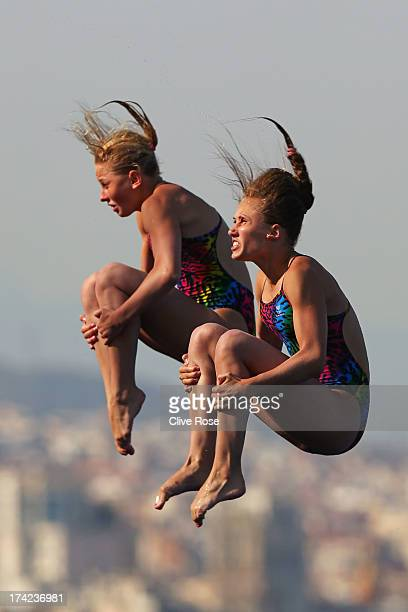 Yulia Timoshinina and Ekaterina Petukhova of Russia compete in the Women's 10m Platform Synchronised Diving final on day three of the 15th FINA World...