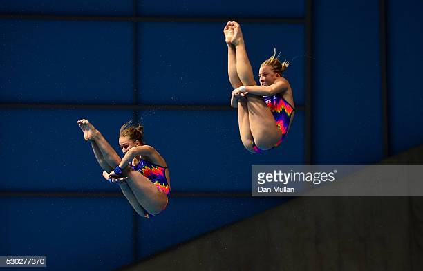 Yulia Timoshinina and Ekaterina Petukhova of Russia compete in the Womens Diving Synchronised Platform Final on Day Two of the LEN European Swimming...