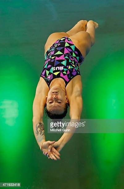 Yulia Timoshinina of Russia compete in the 3m Springboard Women's event during day two of the FINA/NVC Diving World Series 2015 at the London...