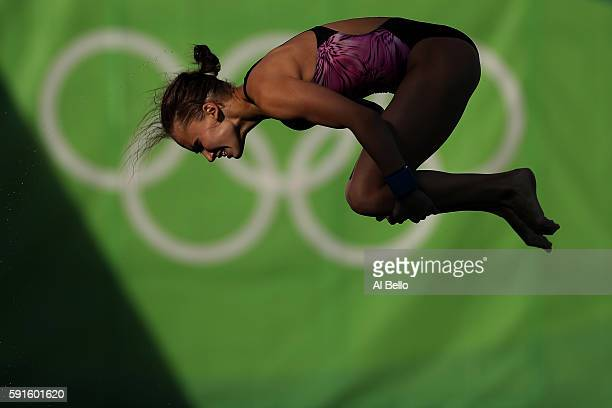 Yulia Timoshinina of Russia competes during the Women's 10m Platform Diving preliminaries on Day 12 of the Rio 2016 Olympic Games at Maria Lenk...