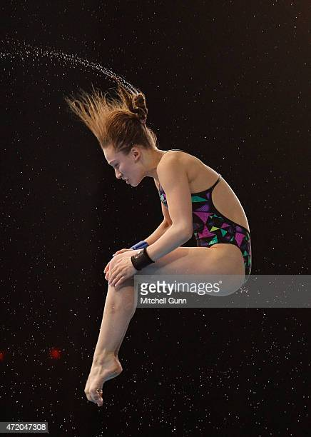 Yulia Timoshinina of Russia competes in the 10m Platform Women during day three of the FINA/NVC Diving World Series 2015 at the London Aquatics...