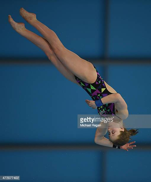 Yulia Timoshinina of Russia competes in the Women's 10m final during day 3 of the FINA/NVC Diving World Series at Aquatics Centre on May 3 2015 in...