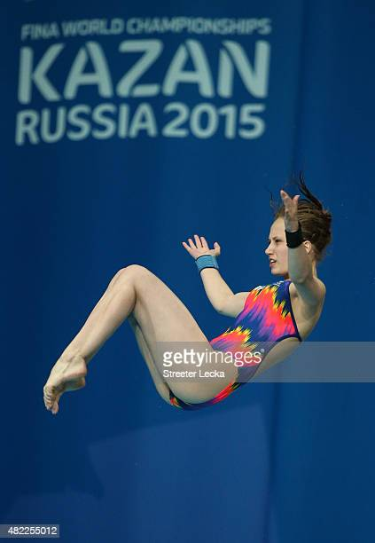 Yulia Timoshinina of Russia competes in the Women's 10m Platform Diving Semifinals on day five of the 16th FINA World Championships at the Aquatics...