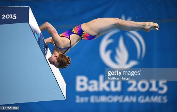 Yulia Timoshinina of Russia competes in the Women's Diving Platform Preliminary during day six of the Baku 2015 European Games at the Baku Aquatics...
