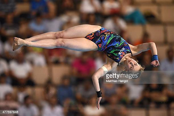 Yulia Timoshinina of Russia competes in the Women's Diving Platform Final during day six of the Baku 2015 European Games at the Baku Aquatics Centre...
