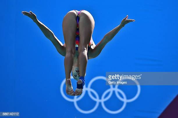 Yulia Timoshinina of Russia practices during a training session at the Maria Lenk Aquatics Centre on August 5 2016 in Rio de Janeiro Brazil