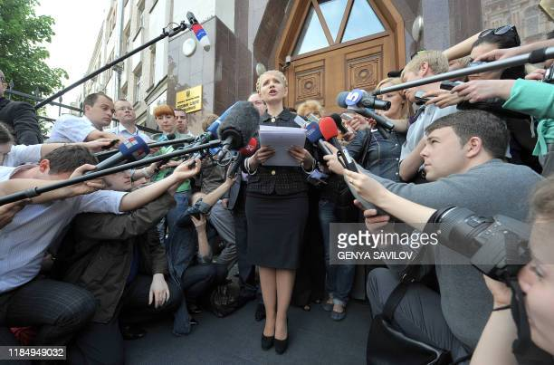 Yulia Tymoshenko speaks to the press in front of the Prosecutor generals office in Kiev on May 12, 2010. Ukrainian authorities have reopened a...