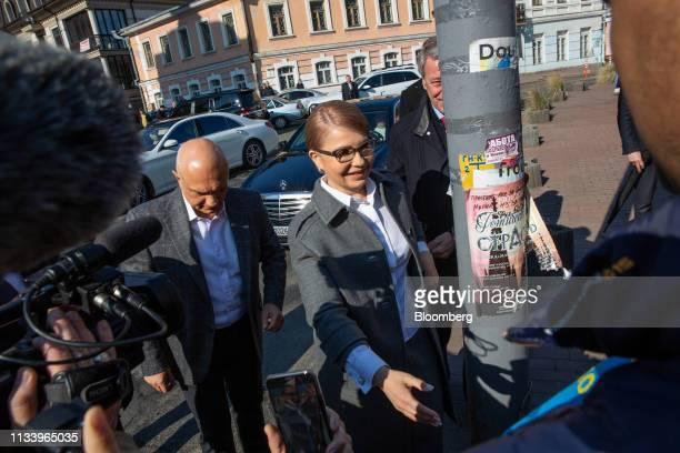 Yulia Tymoshenko Ukraine's former prime minister arrives at a polling station in Kiev Ukraine on Sunday March 31 2019 Ukrainians will choose between...