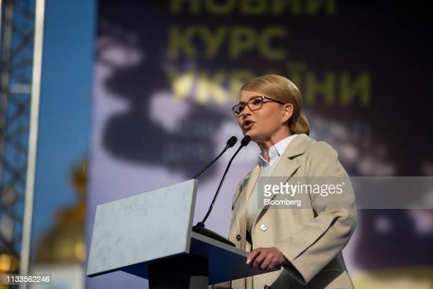 Yulia Tymoshenko Ukraine's former prime minister speaks at a political rally in Kiev Ukraine on Friday March 29 2019 Ukraine votes on Sunday in the...