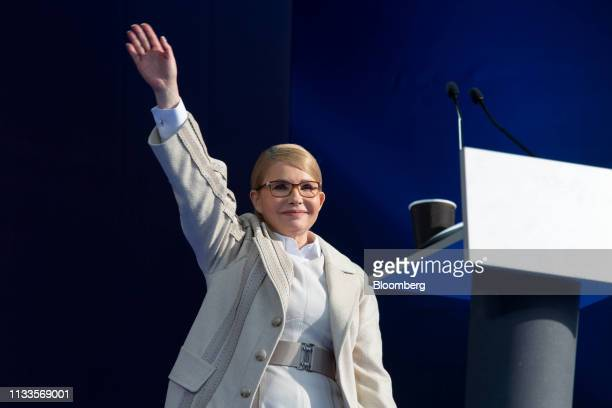 Yulia Tymoshenko Ukraine's former prime minister waves to supporters at a political rally in Kiev Ukraine on Friday March 29 2019 Ukraine votes on...