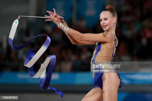 Yulia Vodopyanova of Armenia competes in ribbon in Multidiscipline Team Event Final during Day 4 of Buenos Aires 2018 Youth Olympic Games at America...