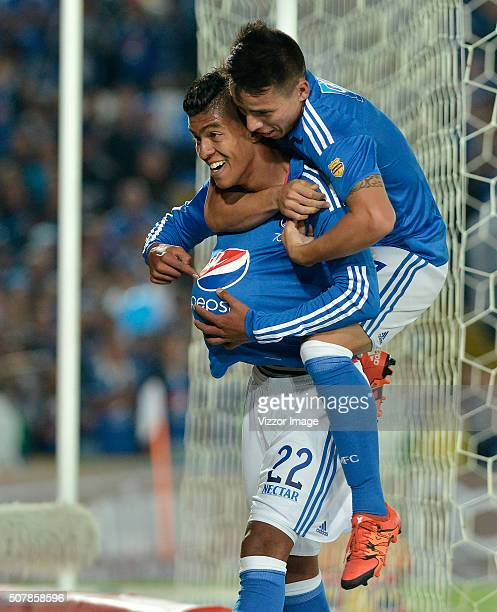 Yulian Mejia of Millonarios celebrates after scoring during a match between Millonarios and Patriotas FC as part of Liga Aguila I 2016 at Nemesio...