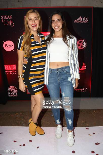 Yuliana Peniche and Kennya Pacheco pose for photos during Paola Durante Presentation of Her Book 'No todo es color de rosa' on November 20 2019 in...