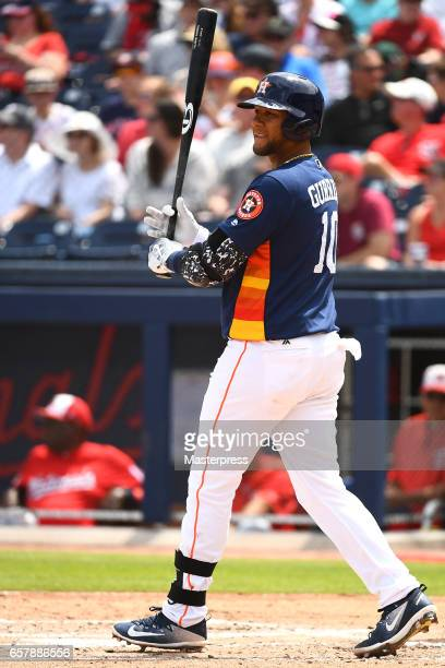 Yulieski Gurriel of the Houston Astros bats during against the Washington Nationals at The Ballpark of the Palm Beaches on March 25 2017 in West Palm...