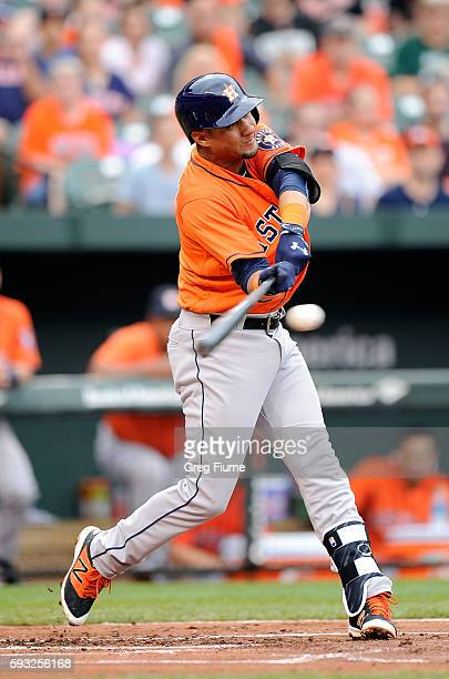 Yulieski Gurriel of the Houston Astros hits a single in his first major league at bat in the second inning against the Baltimore Orioles at Oriole...