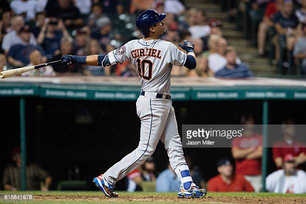 Yulieski Gurriel of the Houston Astros hits a two run home run during the eighth inning against the Cleveland Indians at Progressive Field on...