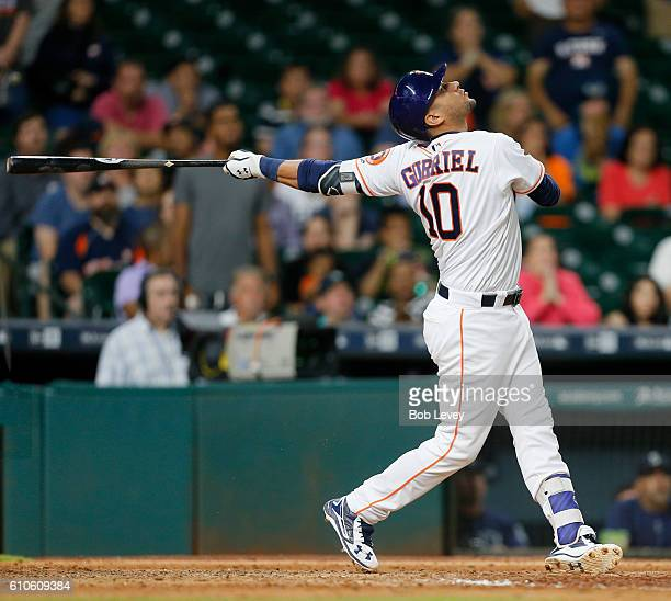 Yulieski Gurriel of the Houston Astros pops out in the eleventh inning to end the game as the Seattle Mariners defeat thee Houston Astros 43 at...