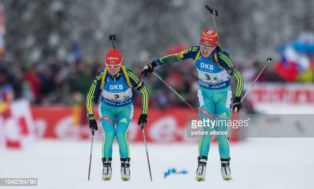 Yuliia Dzhima of Ukraine and Valj Semerenko in action during the women's 4 x 6 km relay race of the Biathlon World Cup in Ruhpolding Germany 17...