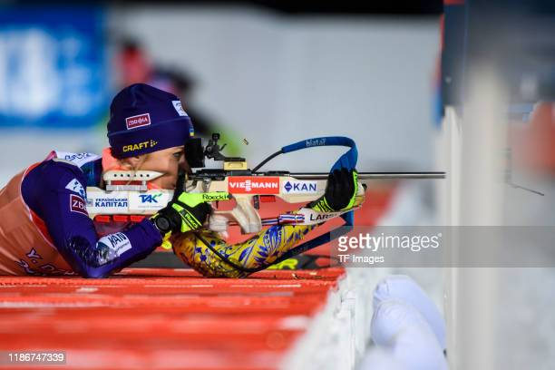 Yuliia Dzhima of Ukraine at the shooting range during a training session for the BMW IBU World Cup Biathlon Oestersund on December 6 2019 in...