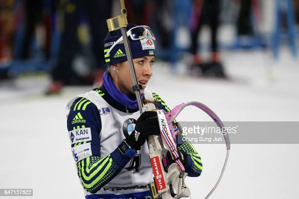 Yuliia Dzhima of Ukraine at the zeoring for the Woman 75km Sprint during the BMW IBU World Cup Biathlon 2017 test event for PyeongChang 2018 Winter...