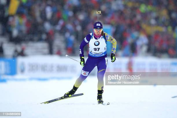 Yuliia Dzhima of Ukraine competes at the IBU Biathlon World Championships Women 75km Sprint at Swedish National Biathlon Arena on March 08 2019 in...
