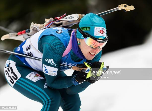 Yuliia Dzhima of Ukraine competes during the 75 km IBU World Cup Biathlon Oberhof women's Sprint on January 4 2018 in Oberhof Germany